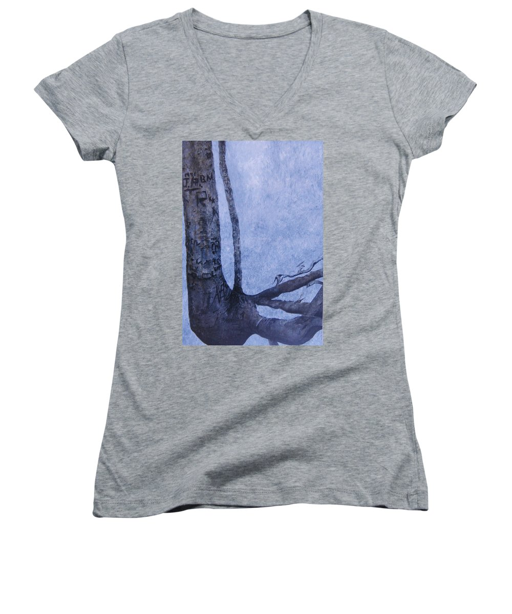 Tree Trunk Women's V-Neck T-Shirt featuring the painting Hedden Park II by Leah Tomaino