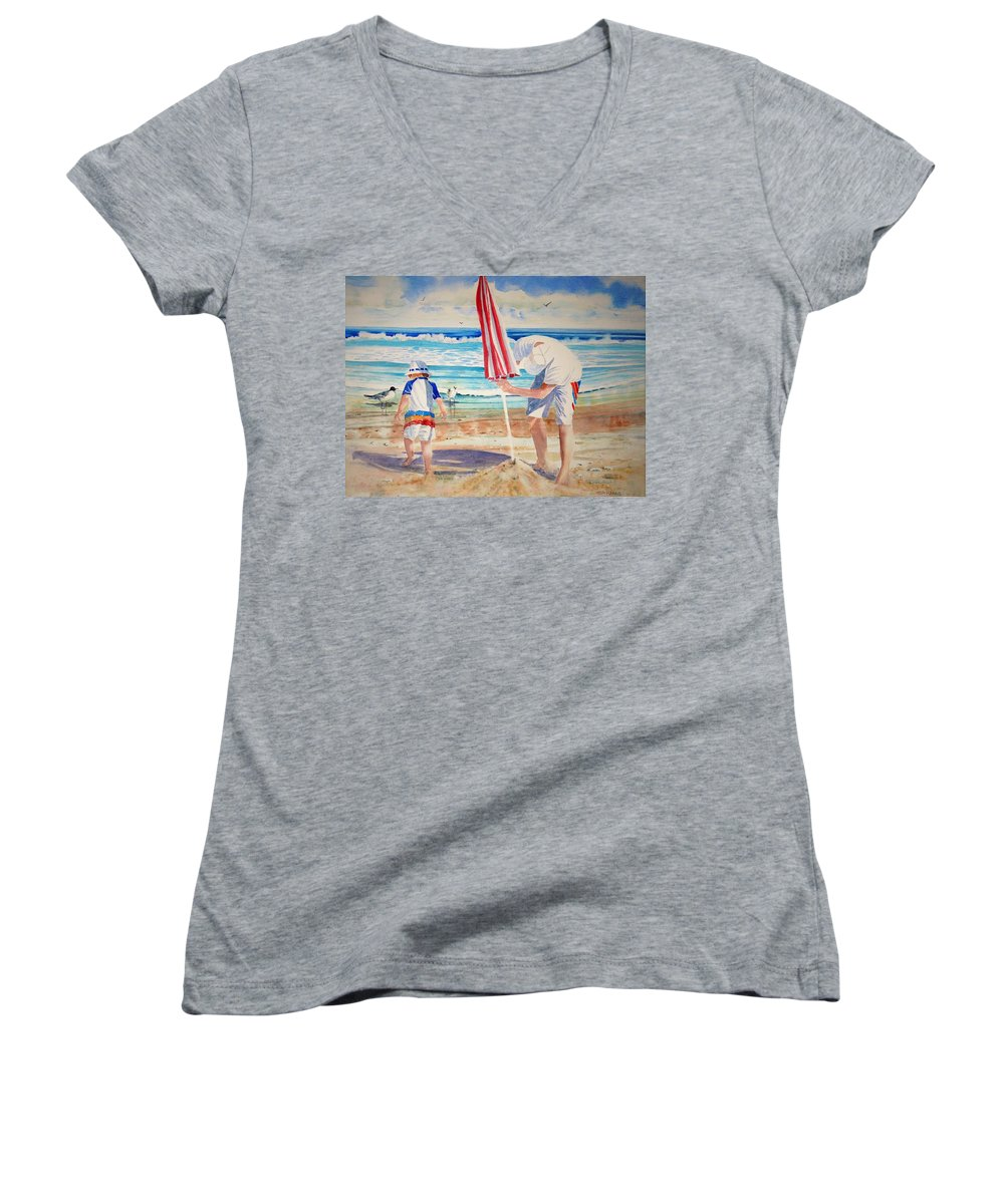 Beach Women's V-Neck T-Shirt featuring the painting Helping Dad Set Up The Camp by Tom Harris