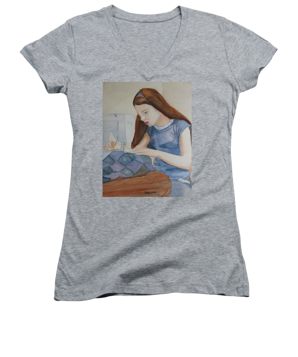 Girl Women's V-Neck (Athletic Fit) featuring the painting Her First Quilt by Jenny Armitage