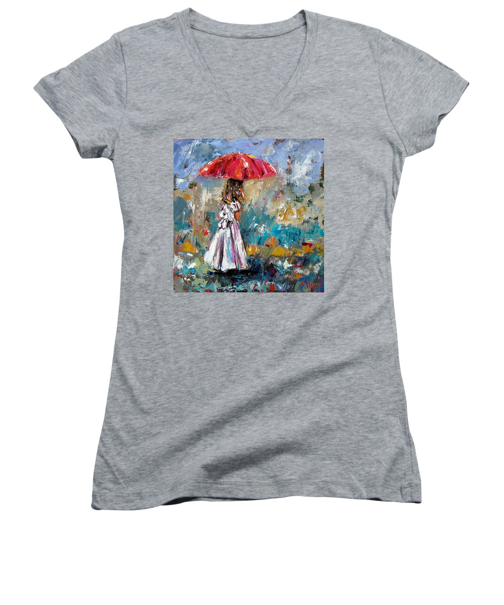 Children Art Women's V-Neck (Athletic Fit) featuring the painting Her White Dress by Debra Hurd
