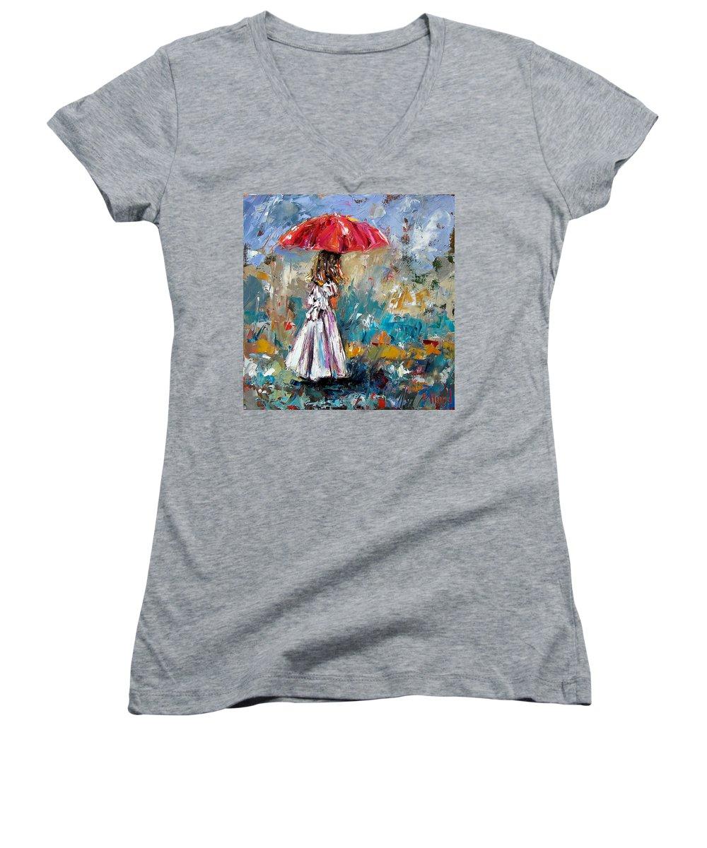 Children Art Women's V-Neck T-Shirt featuring the painting Her White Dress by Debra Hurd