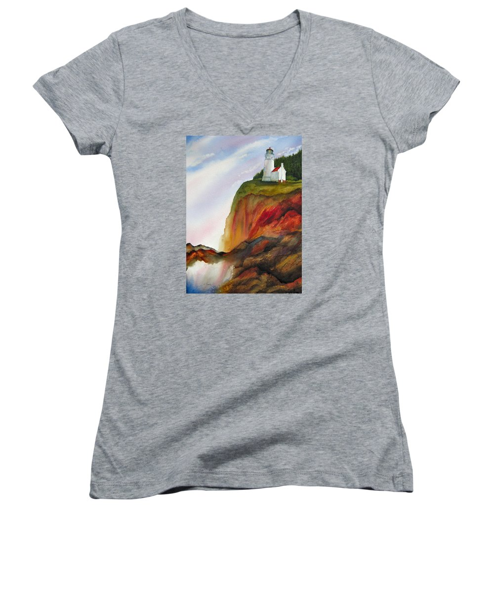 Coastal Women's V-Neck (Athletic Fit) featuring the painting High Ground by Karen Stark