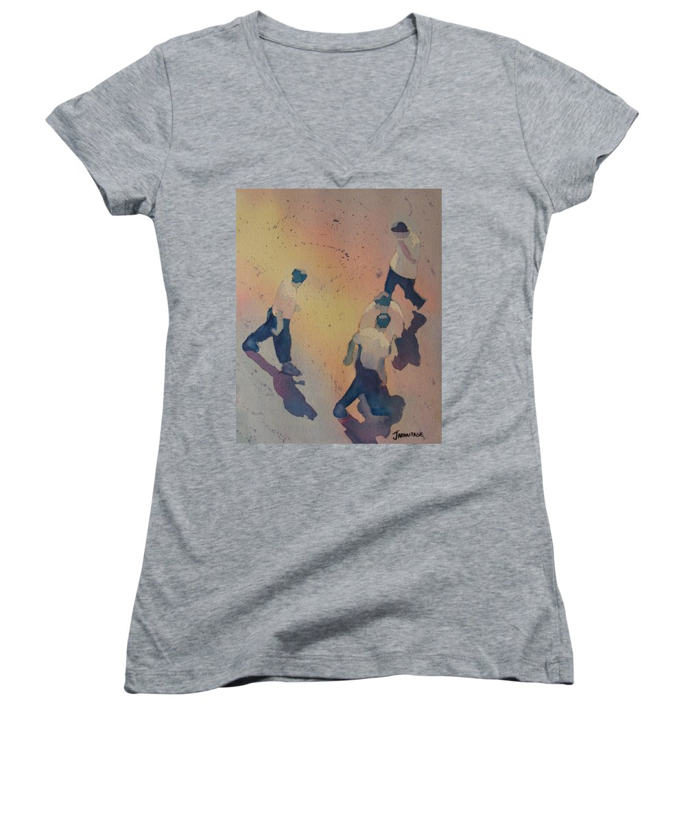Men Women's V-Neck T-Shirt featuring the painting High Noon At The Gravel Spit I by Jenny Armitage