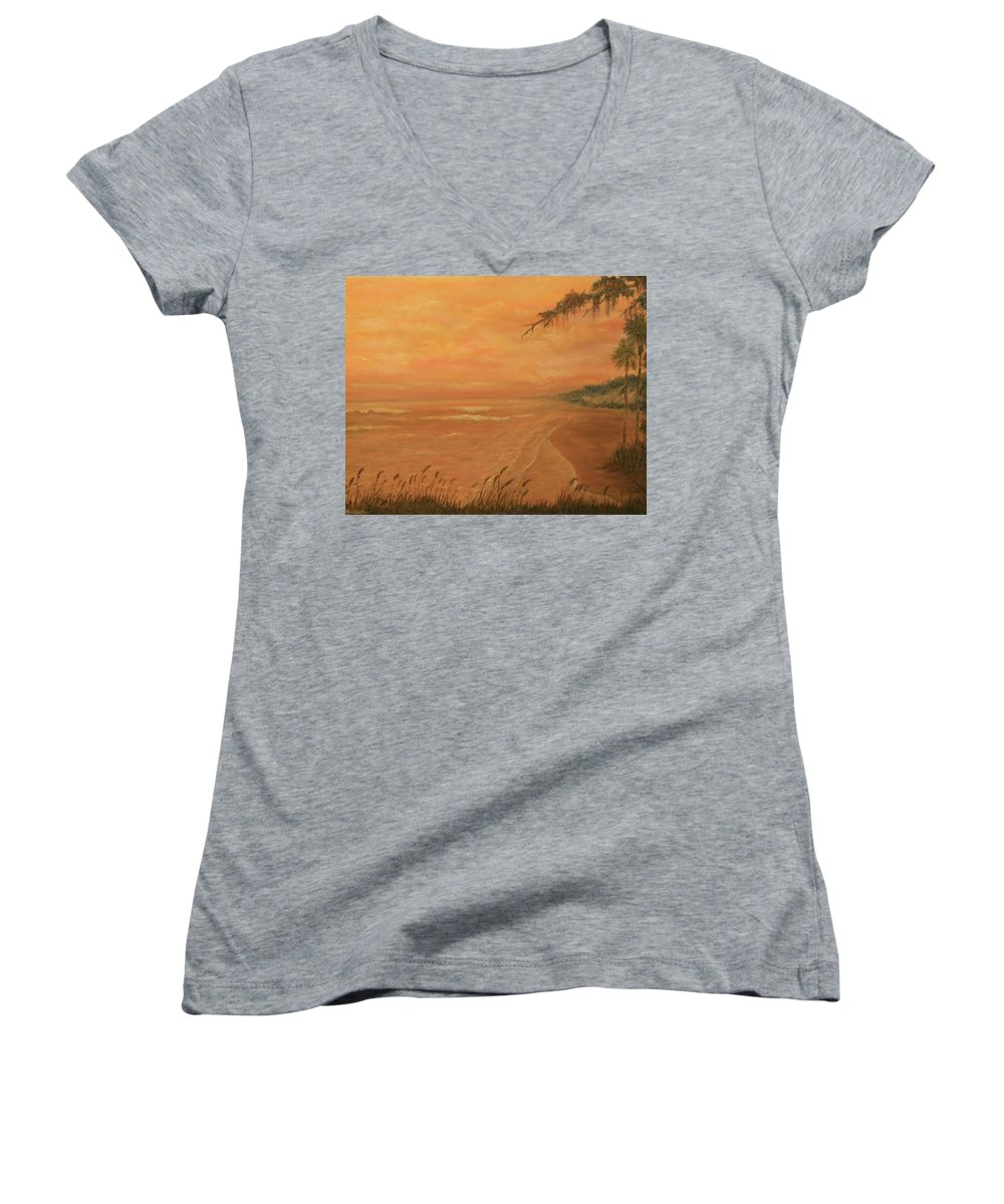 Beach; Ocean; Palm Trees; Water Women's V-Neck T-Shirt featuring the painting High Tide by Ben Kiger