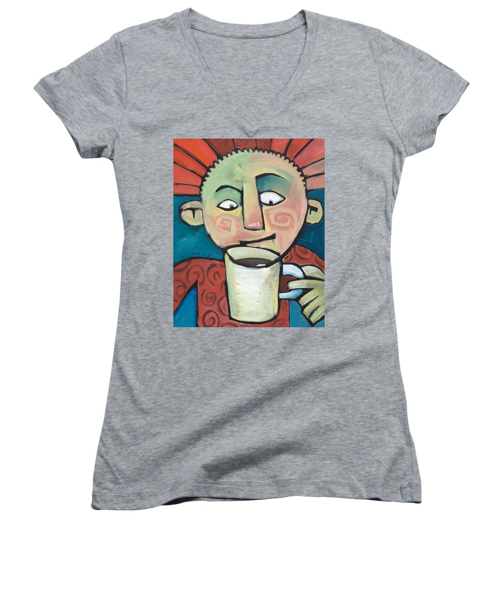 Smile Women's V-Neck T-Shirt featuring the painting His Coffee Spoke To Him by Tim Nyberg