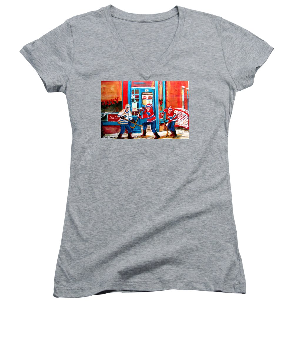 Wilenskys Women's V-Neck T-Shirt featuring the painting Hockey Sticks In Action by Carole Spandau