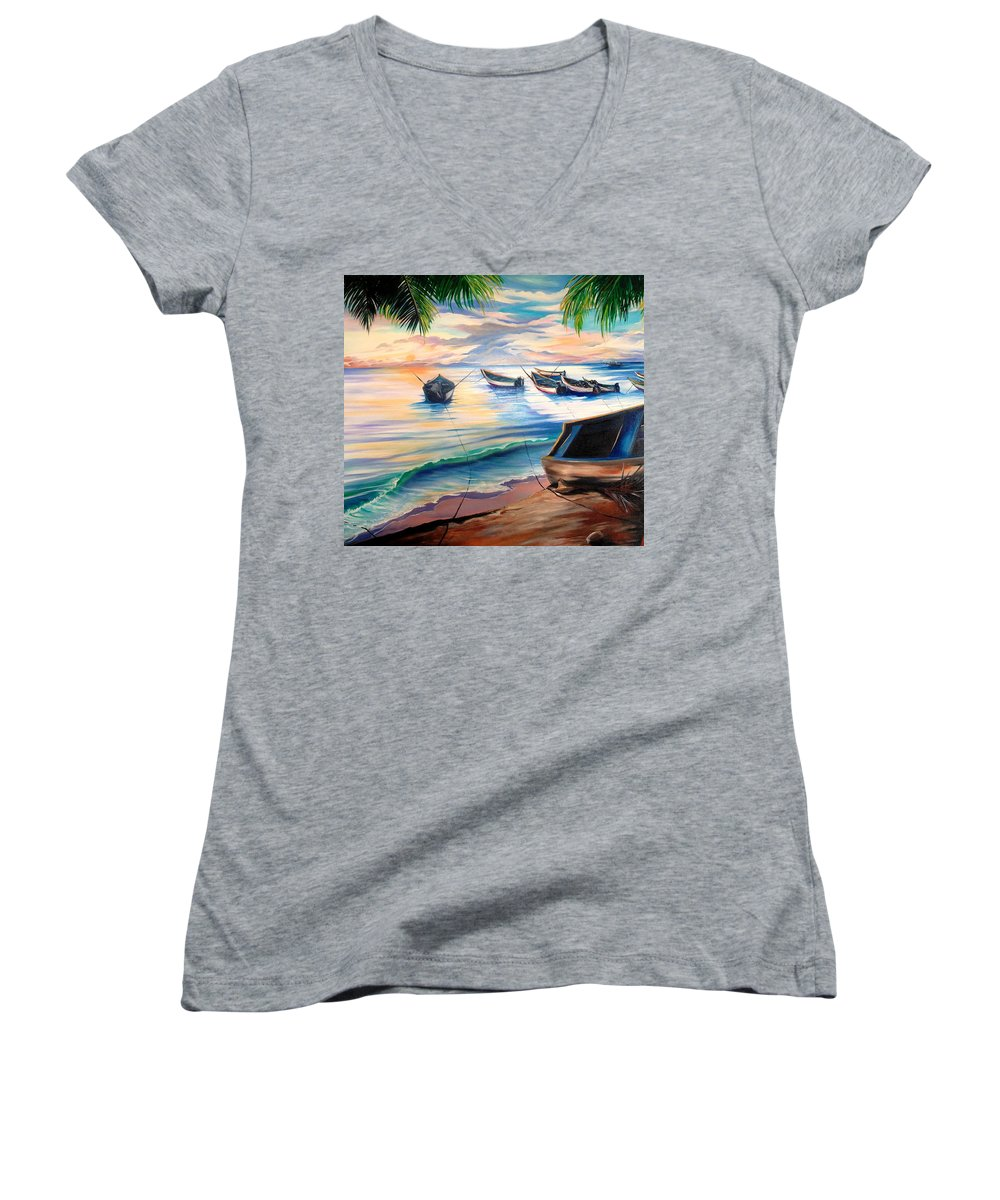 Ocean Painting Caribbean Painting Seascape Painting Beach Painting Fishing Boats Painting Sunset Painting Blue Palm Trees Fisherman Trinidad And Tobago Painting Tropical Painting Women's V-Neck T-Shirt featuring the painting Home From The Sea by Karin Dawn Kelshall- Best