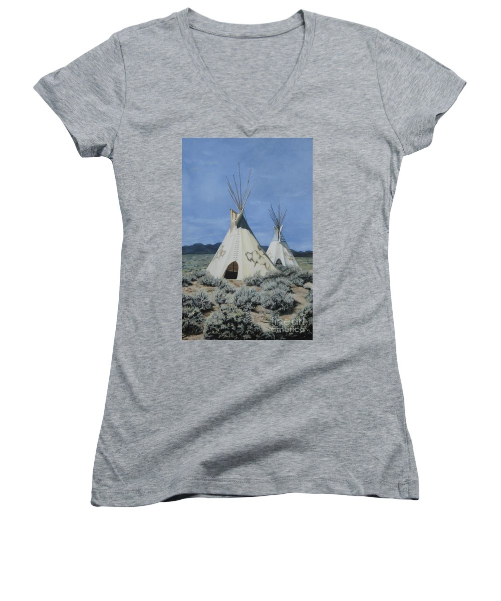 Art Women's V-Neck (Athletic Fit) featuring the painting Home On The Range by Mary Rogers