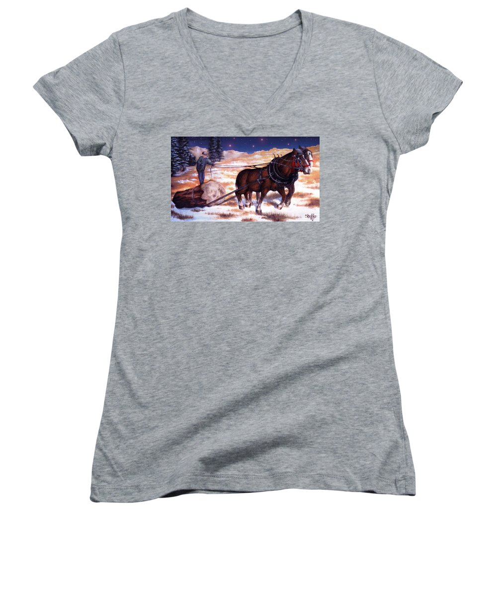 Horse Women's V-Neck T-Shirt featuring the painting Horses Pulling Log by Curtiss Shaffer