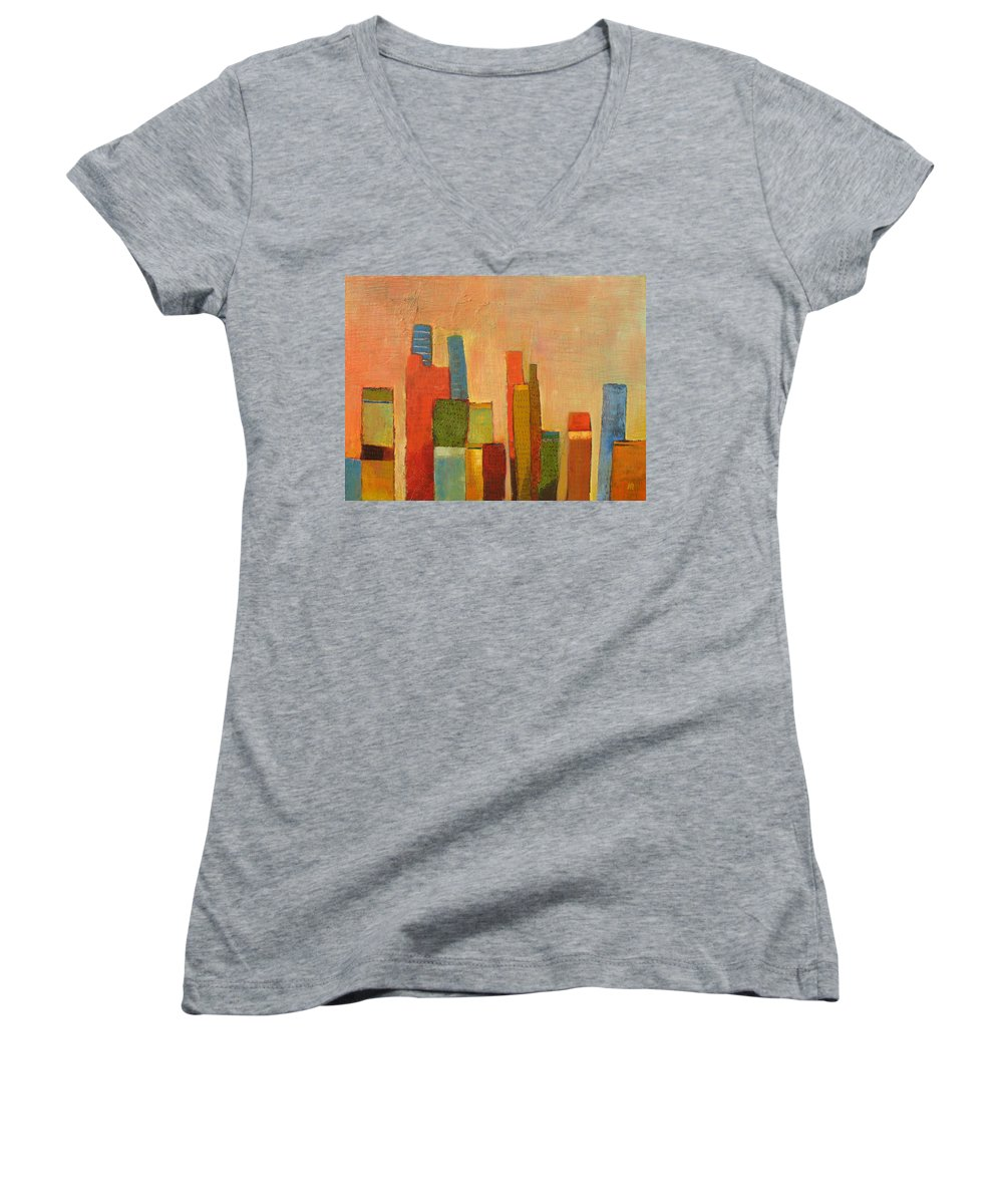 Abstract Cityscape Women's V-Neck T-Shirt featuring the painting Hot Manhattan by Habib Ayat