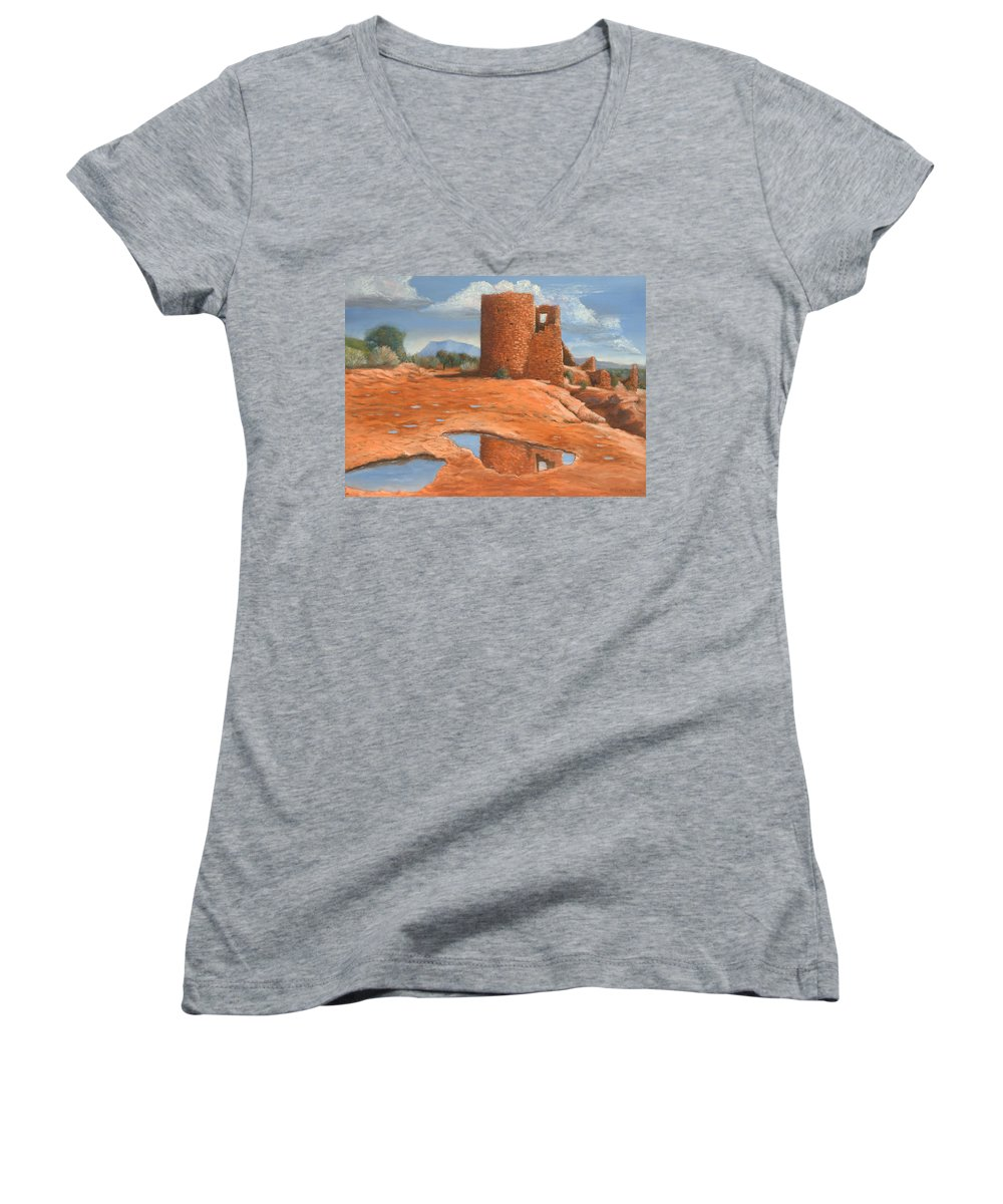 Anasazi Women's V-Neck (Athletic Fit) featuring the painting Hovenweep Reflection by Jerry McElroy