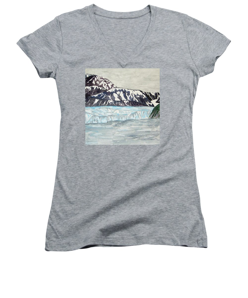 Glacier Women's V-Neck (Athletic Fit) featuring the painting Hubbard Glacier In July by Larry Wright