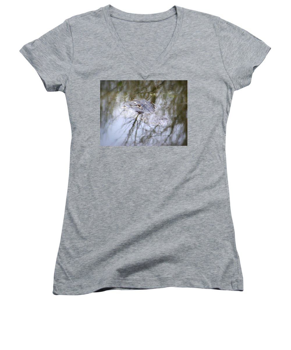 Alligator Women's V-Neck (Athletic Fit) featuring the photograph I Am Watching by Ed Smith