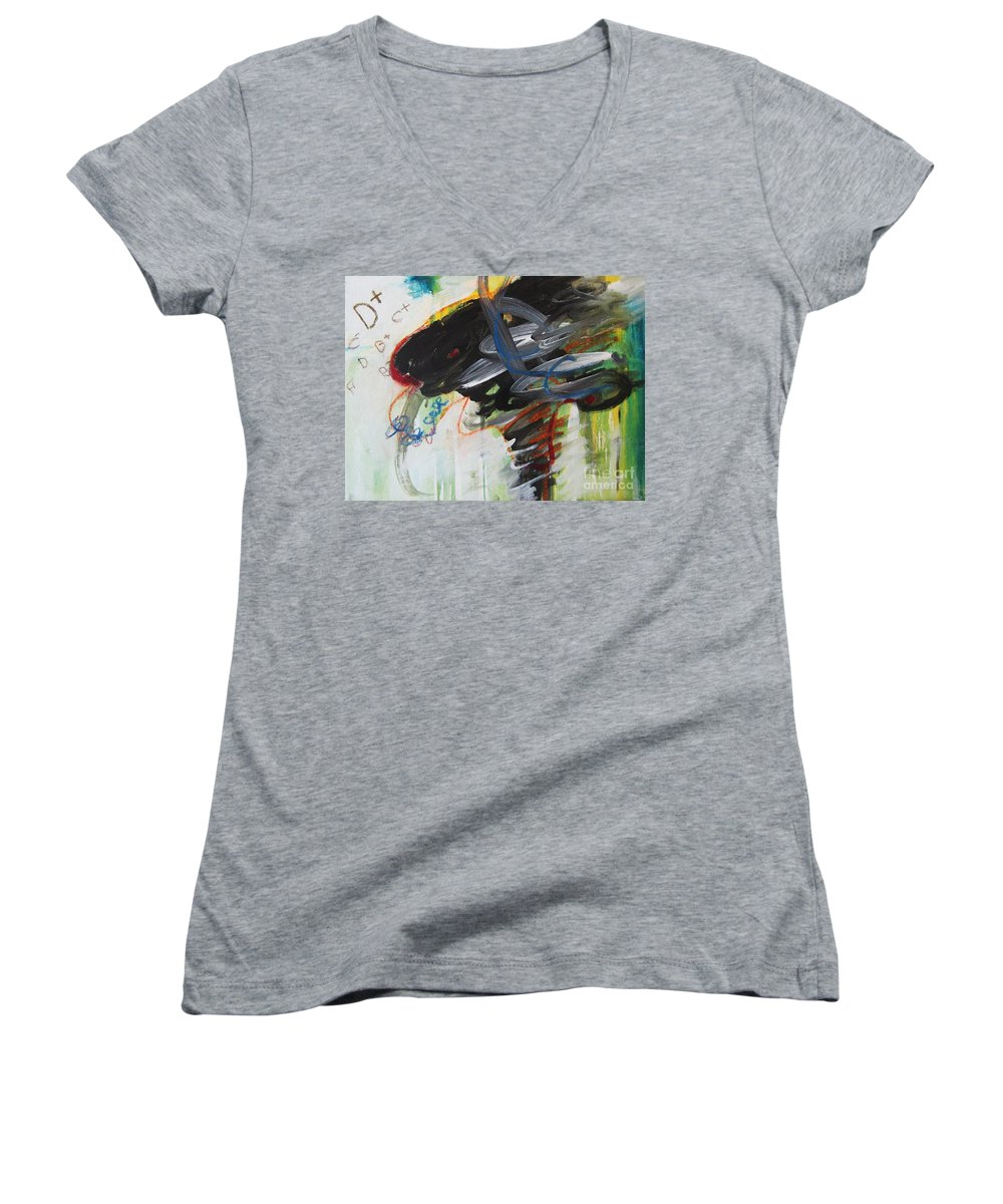 Abstract Paintings Paintings Abstract Art Paintings Women's V-Neck T-Shirt featuring the painting I Got D by Seon-Jeong Kim