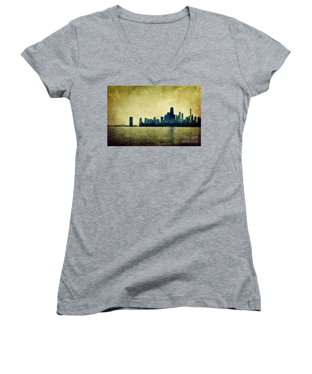 Dipasquale Women's V-Neck T-Shirt featuring the photograph I Will Find You Down The Road Where We Met That Night by Dana DiPasquale