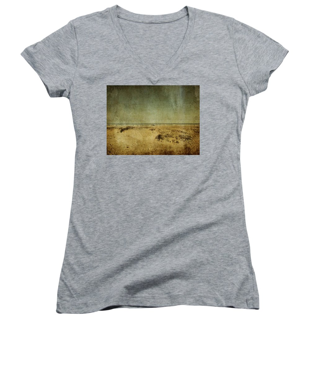 Beach Women's V-Neck T-Shirt featuring the photograph I Wore Your Shirt by Dana DiPasquale