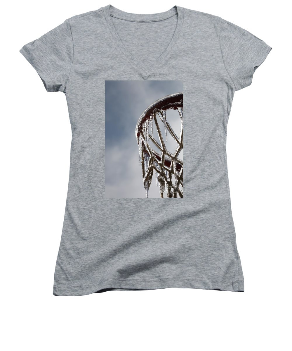 Basketball Women's V-Neck T-Shirt featuring the photograph Icy Hoops by Nadine Rippelmeyer