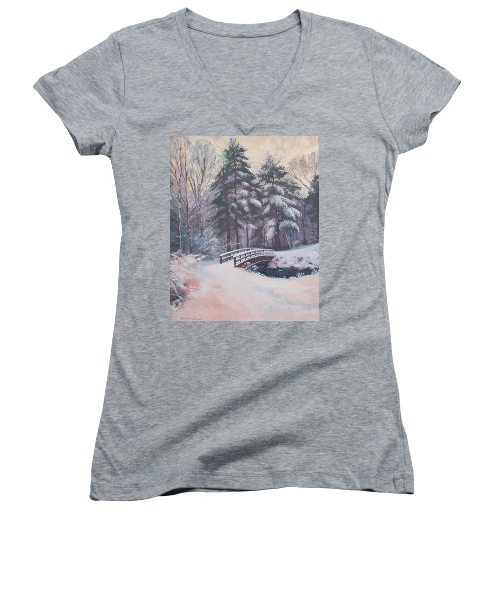 Landscape Women's V-Neck T-Shirt featuring the painting Icy Stream by Dianne Panarelli Miller