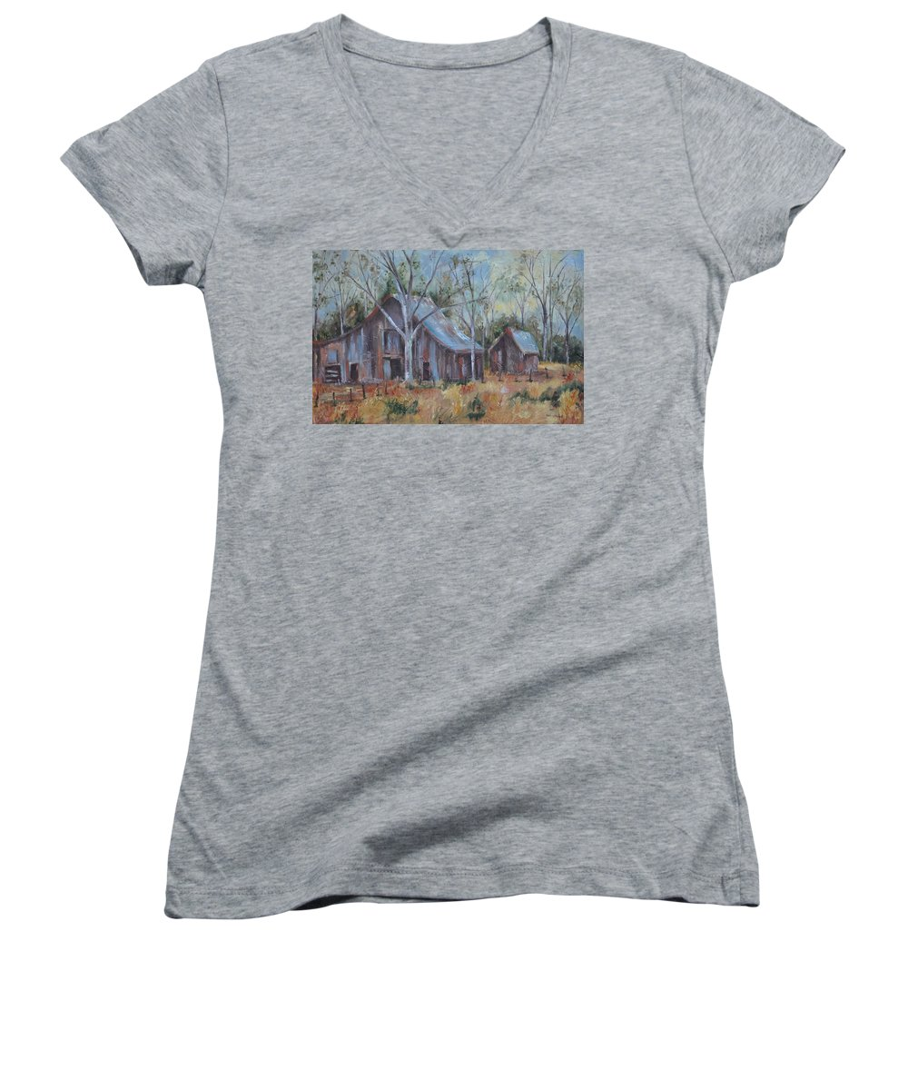 Barns Women's V-Neck T-Shirt featuring the painting If They Could Speak by Ginger Concepcion