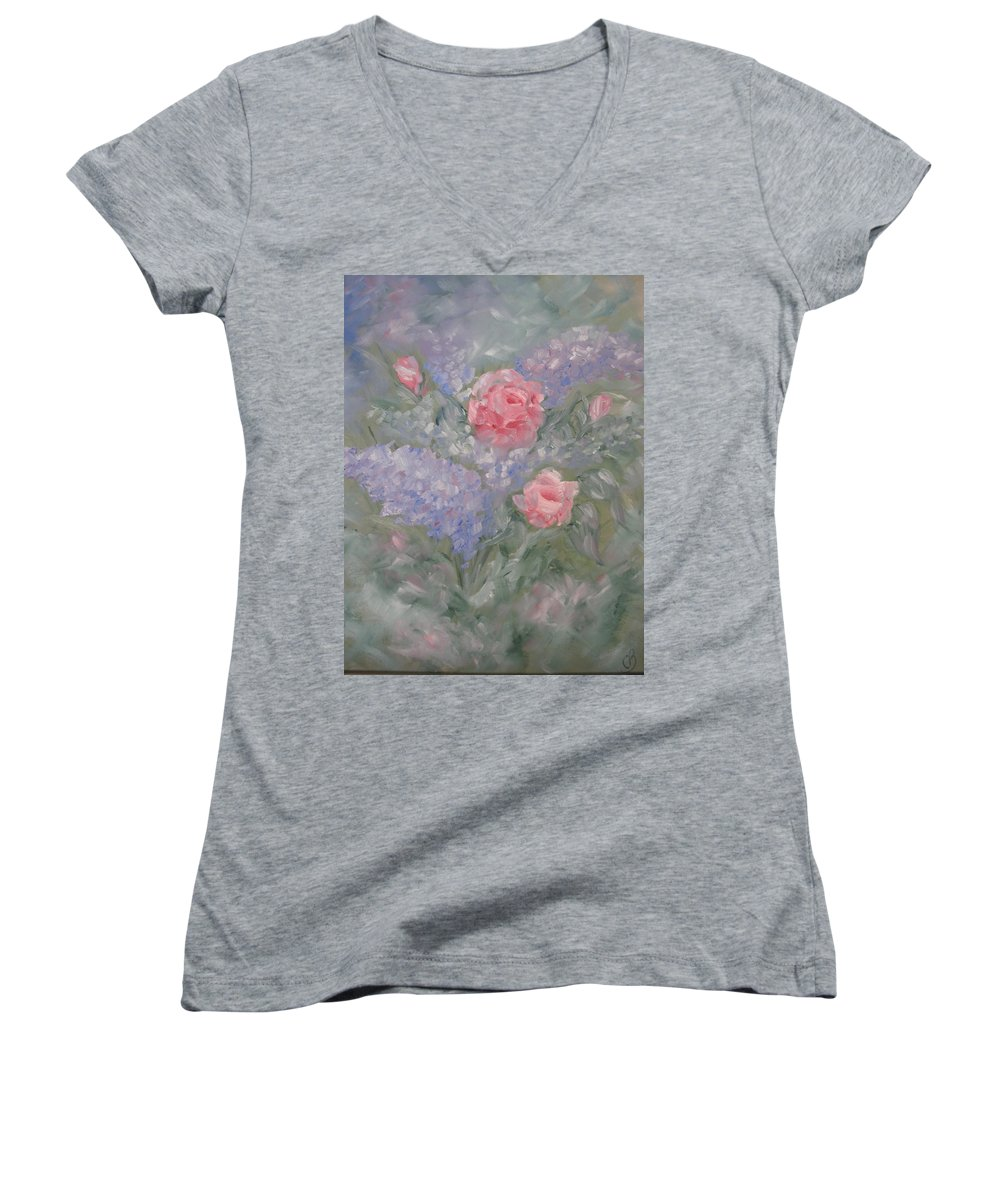 Flowers Women's V-Neck T-Shirt featuring the painting In Bloom by Carrie Mayotte