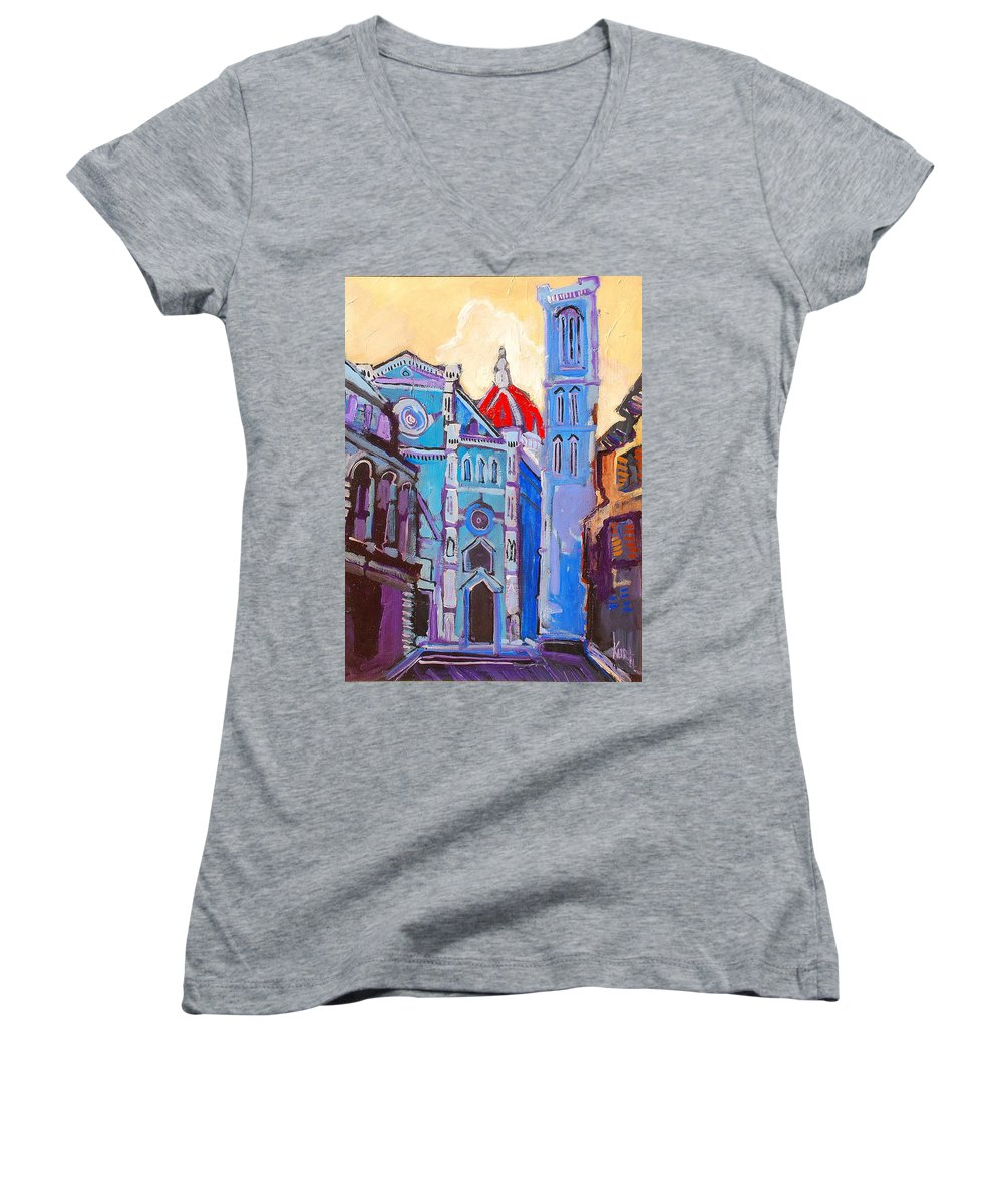 Florence Women's V-Neck (Athletic Fit) featuring the painting In The Middle Of by Kurt Hausmann