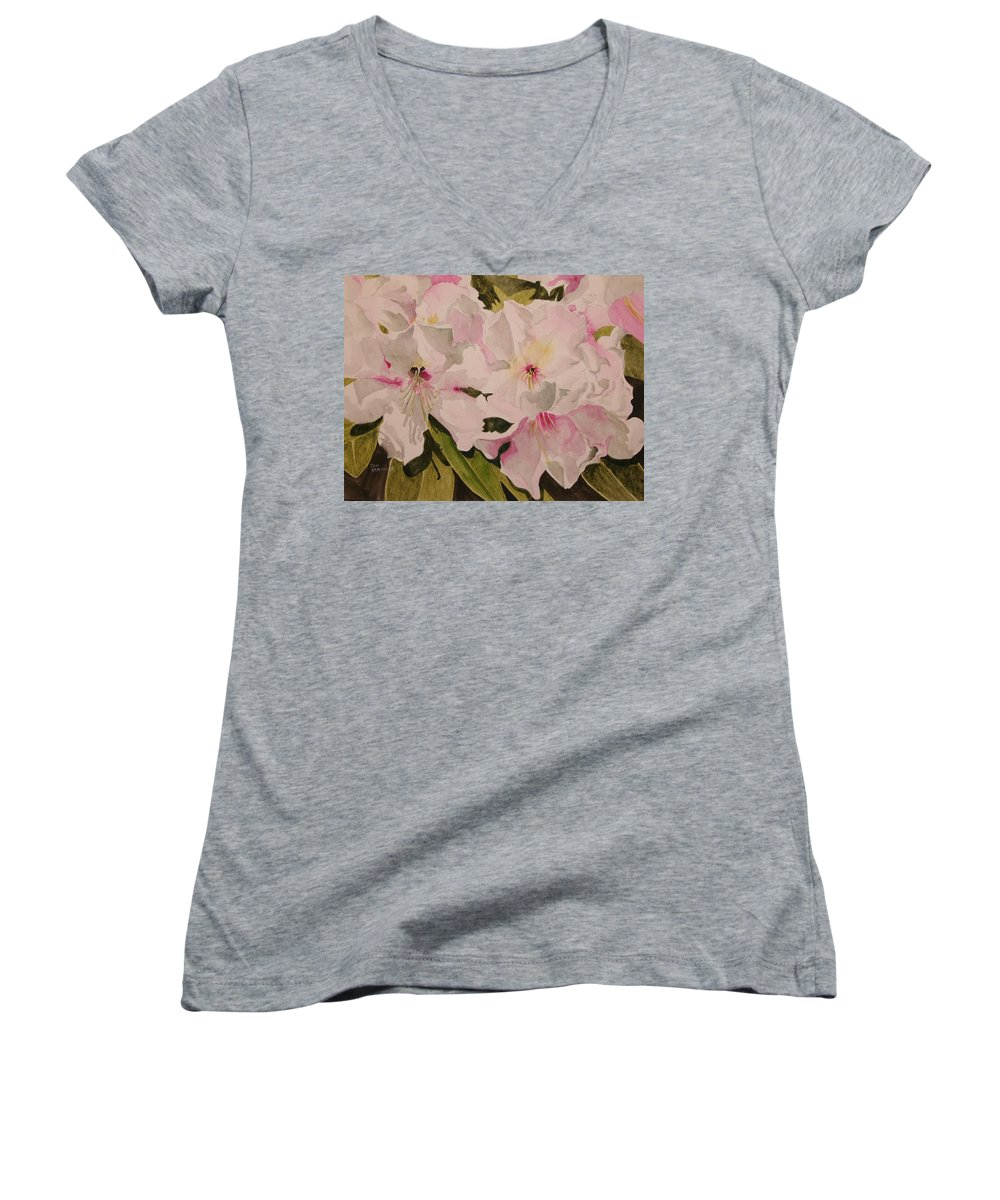 Pink Women's V-Neck T-Shirt featuring the painting In The Pink by Jean Blackmer