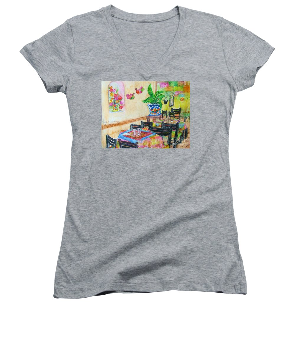 Watercolor Women's V-Neck (Athletic Fit) featuring the painting Indoor Cafe - Gifted by Judith Espinoza