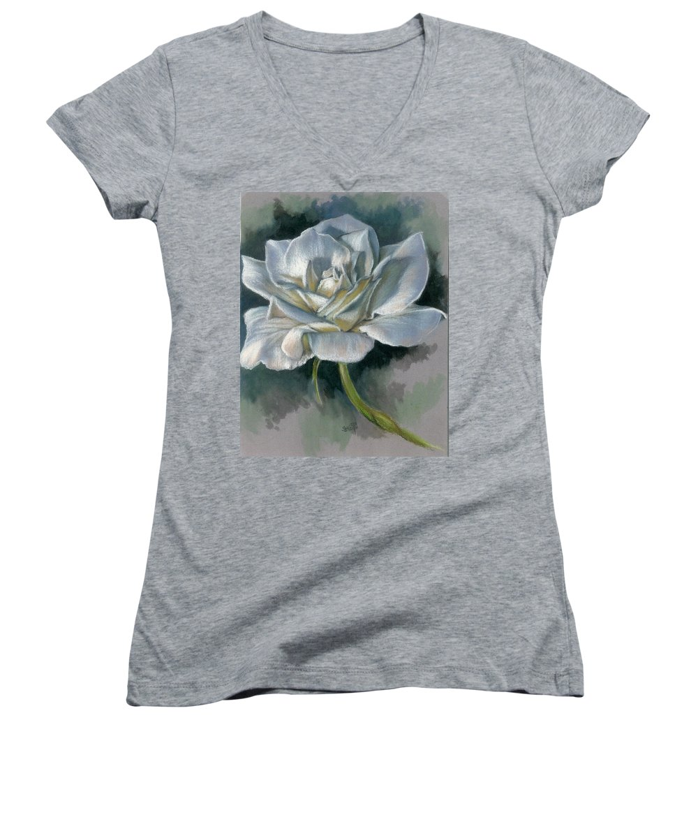 Rose Women's V-Neck T-Shirt featuring the mixed media Innocence by Barbara Keith