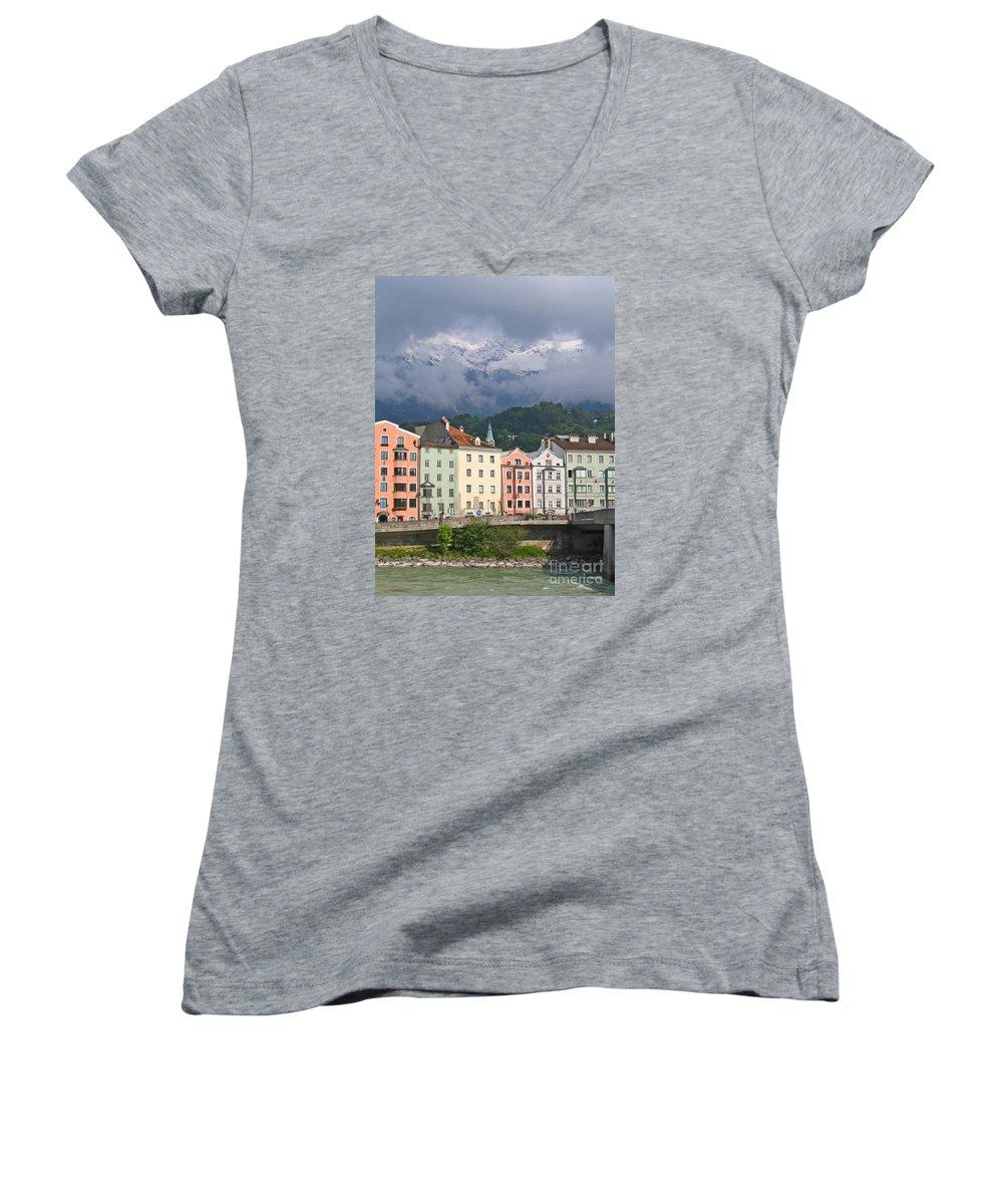 Innsbruck Women's V-Neck T-Shirt featuring the photograph Innsbruck by Ann Horn
