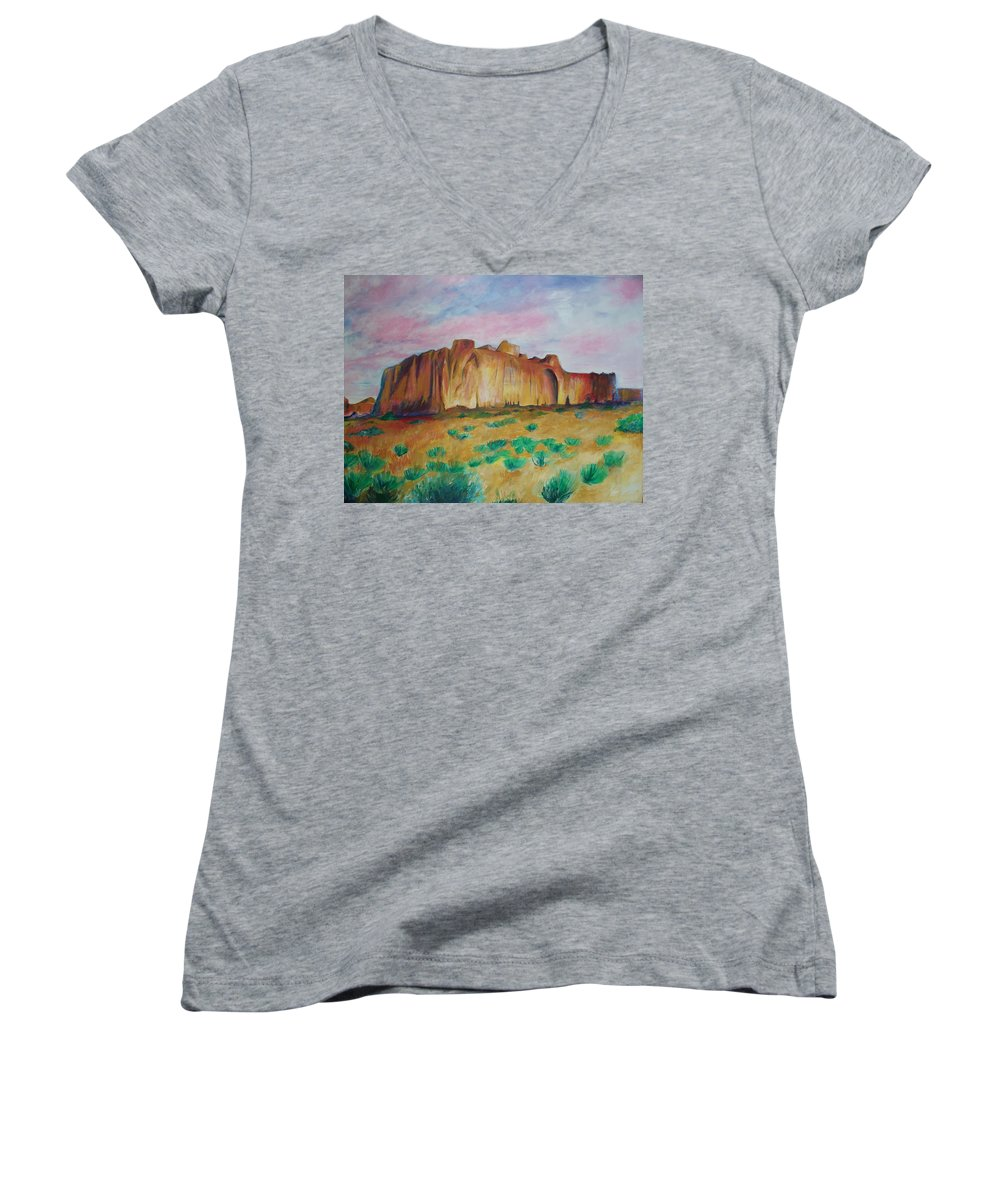 Western Landscapes Women's V-Neck T-Shirt featuring the painting Inscription Rock by Eric Schiabor