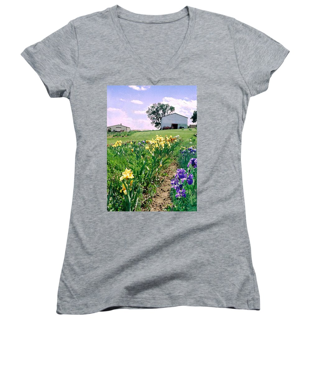 Landscape Painting Women's V-Neck (Athletic Fit) featuring the photograph Iris Farm by Steve Karol