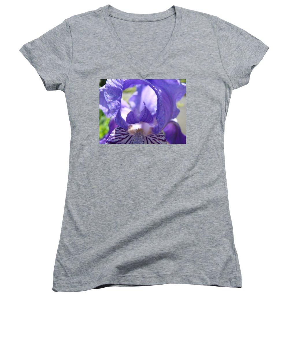 �irises Artwork� Women's V-Neck (Athletic Fit) featuring the photograph Iris Flower Purple Irises Floral Botanical Art Prints Macro Close Up by Baslee Troutman