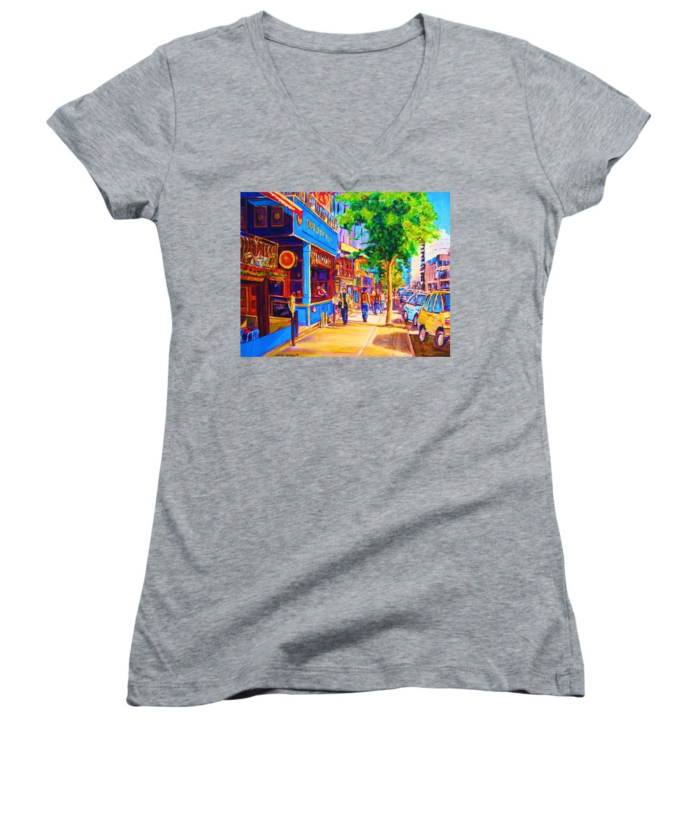 Irish Pub On Crescent Street Montreal Street Scenes Women's V-Neck (Athletic Fit) featuring the painting Irish Pub On Crescent Street by Carole Spandau