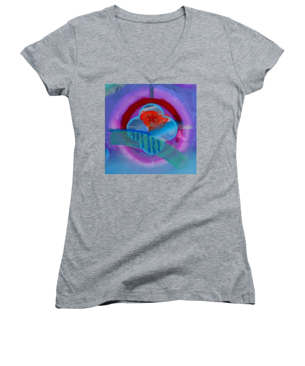 Logo Women's V-Neck (Athletic Fit) featuring the painting Iron Butterfly by Charles Stuart