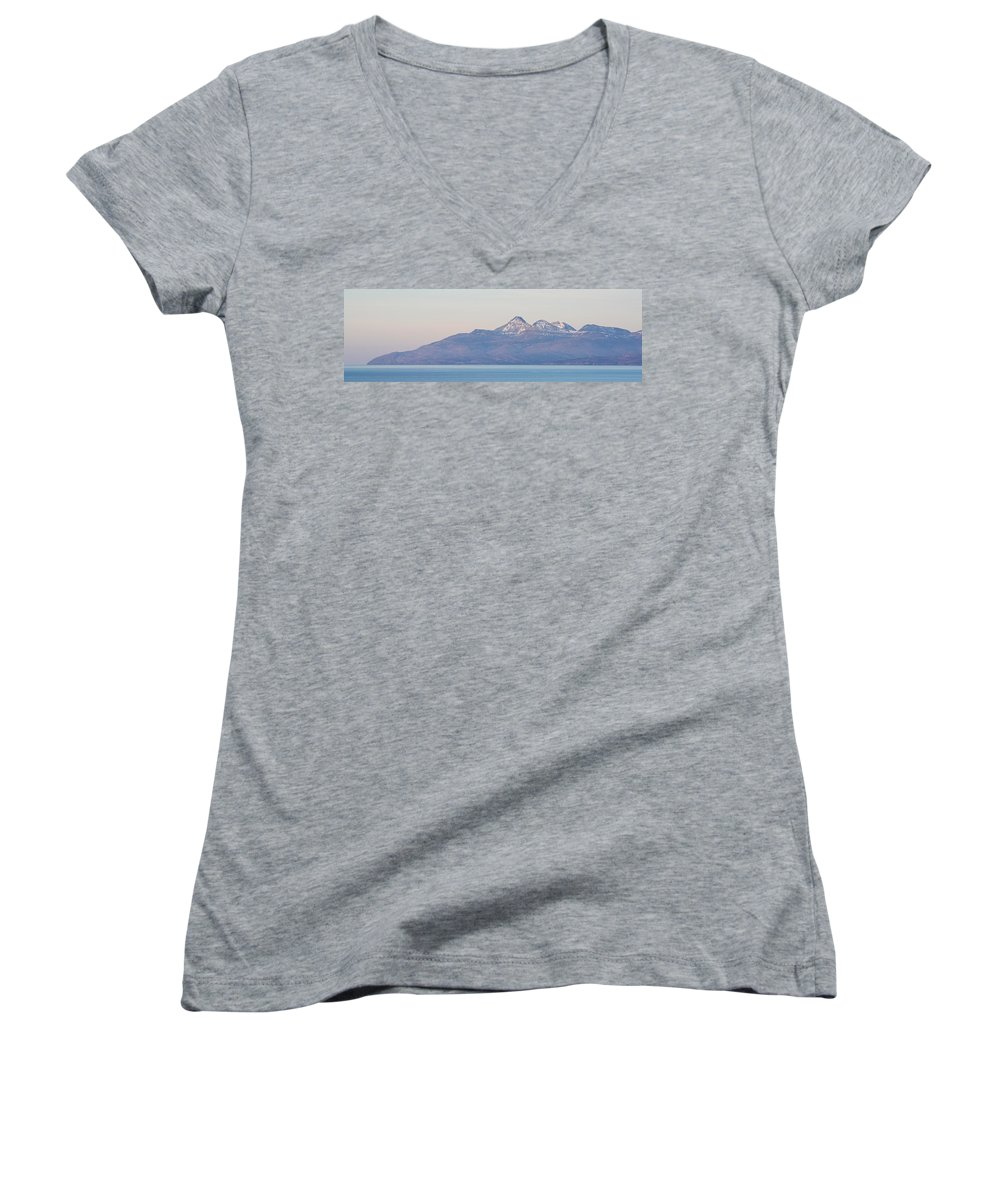 Rum Women's V-Neck featuring the photograph Isle Of Rum by Stephen Taylor