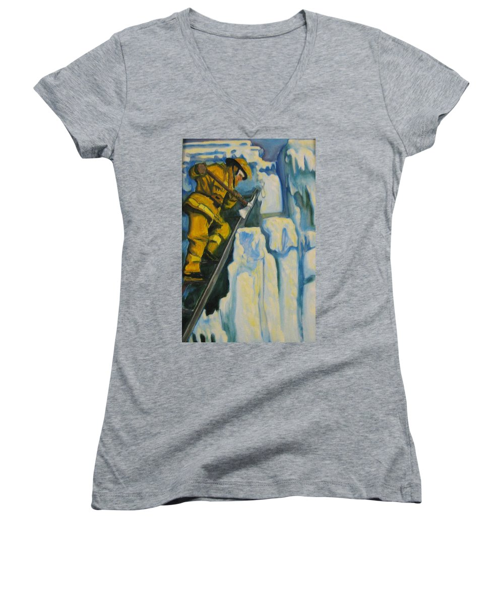 Firefighters Women's V-Neck T-Shirt featuring the painting Its Not Over Till Its Over by John Malone