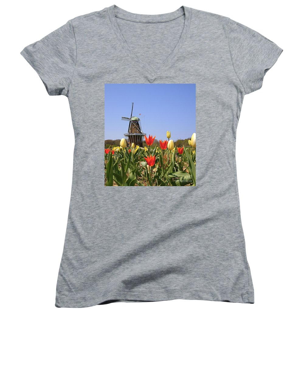 Tulips Women's V-Neck T-Shirt featuring the photograph Its Tulip Time by Robert Pearson