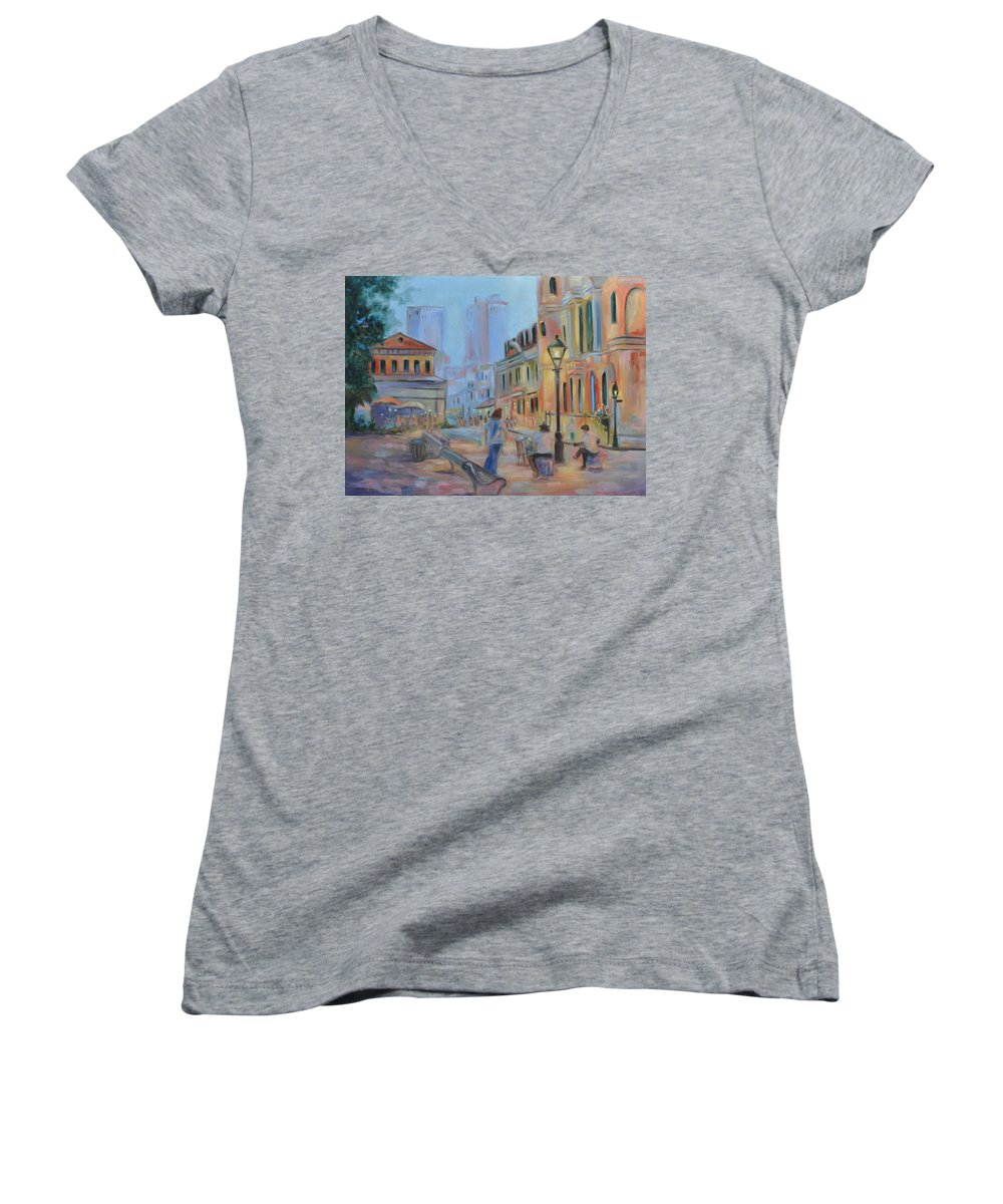 New Orleans Women's V-Neck T-Shirt featuring the painting Jackson Square Musicians by Ginger Concepcion