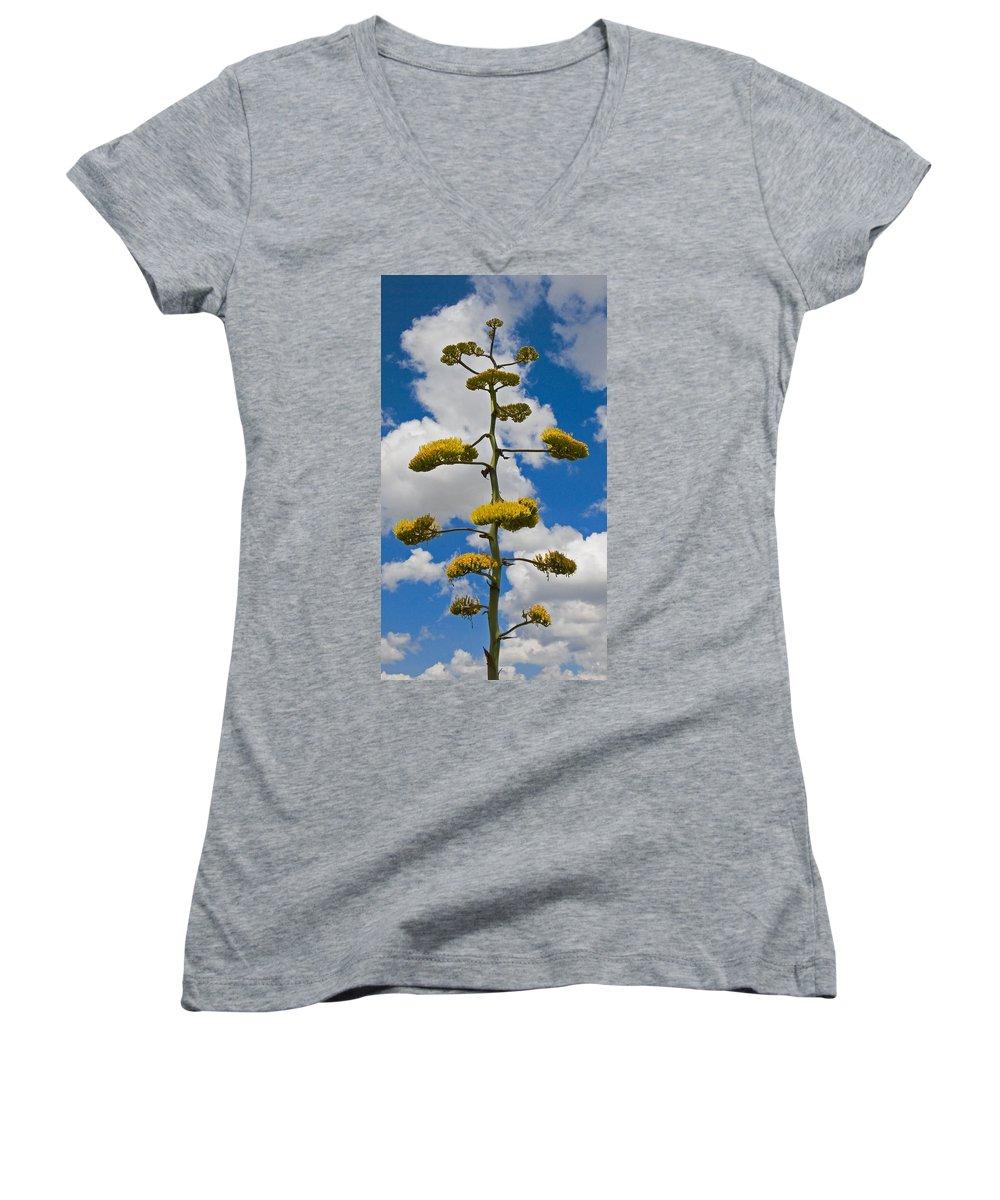 Blue Women's V-Neck T-Shirt featuring the photograph Jacobs Ladder by Skip Hunt