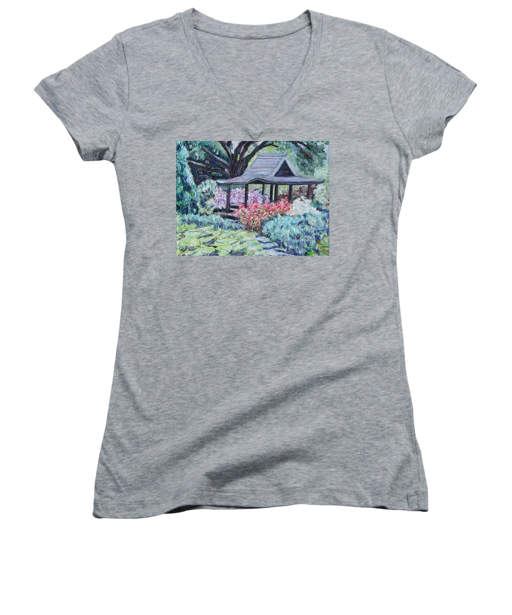 Garden Women's V-Neck (Athletic Fit) featuring the painting Japanese Garden by Richard Nowak