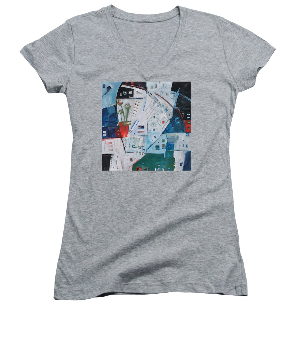Jazz Women's V-Neck (Athletic Fit) featuring the painting Jazz In Bloom by Tim Nyberg