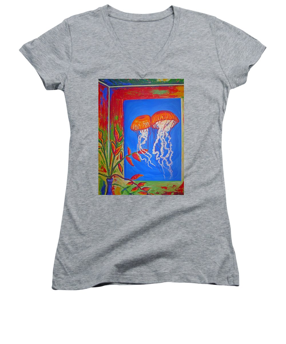 Jellyfish Women's V-Neck (Athletic Fit) featuring the painting Jellyfish With Flowers by Ericka Herazo