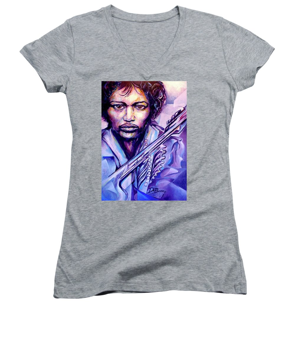Women's V-Neck T-Shirt featuring the painting Jimi by Lloyd DeBerry