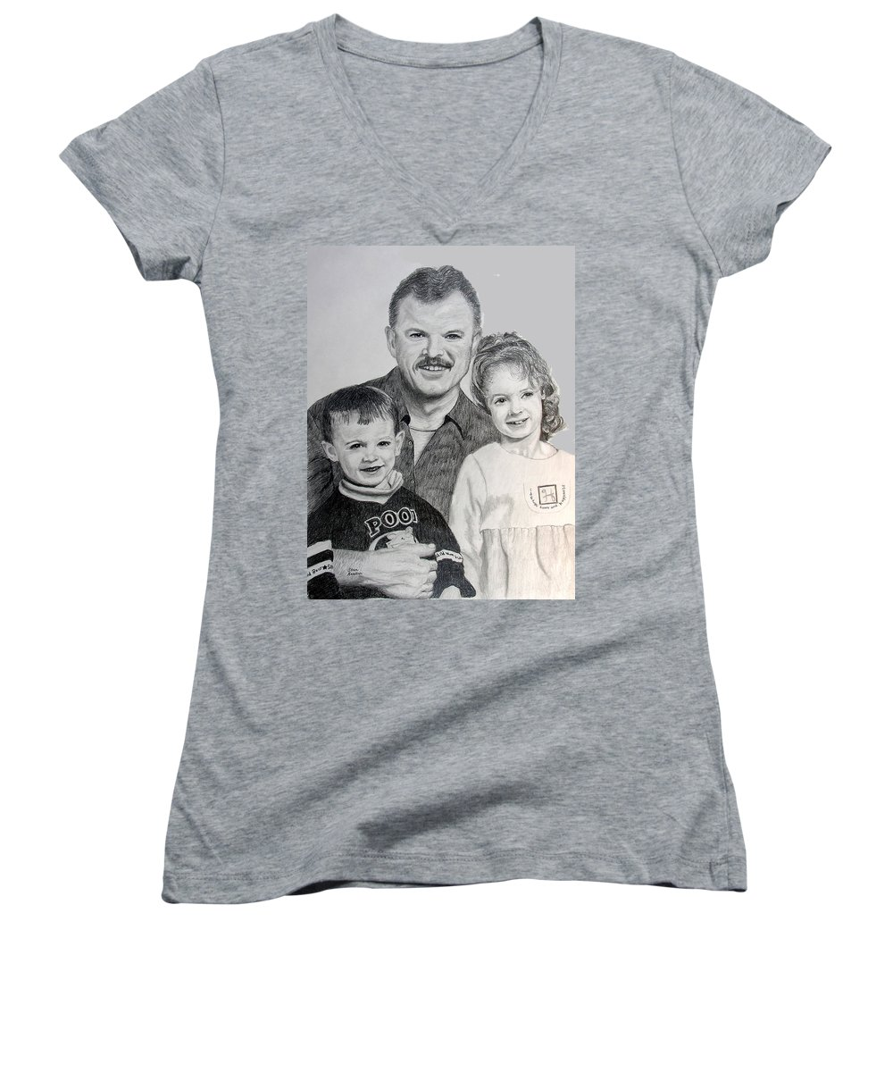 Portrait Women's V-Neck T-Shirt featuring the drawing John Megan And Joey by Stan Hamilton