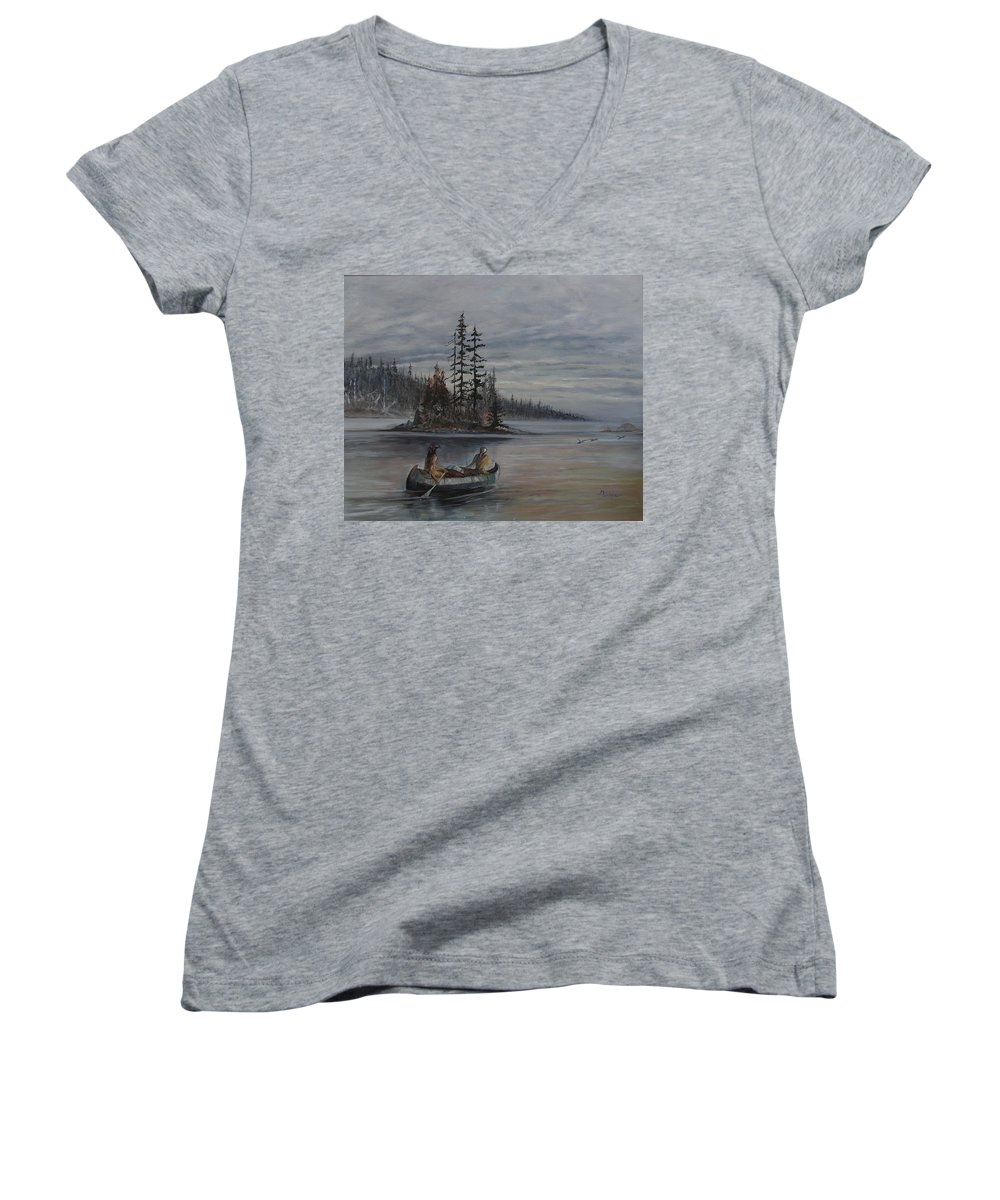 First Nation Women's V-Neck T-Shirt featuring the painting Journey - Lmj by Ruth Kamenev