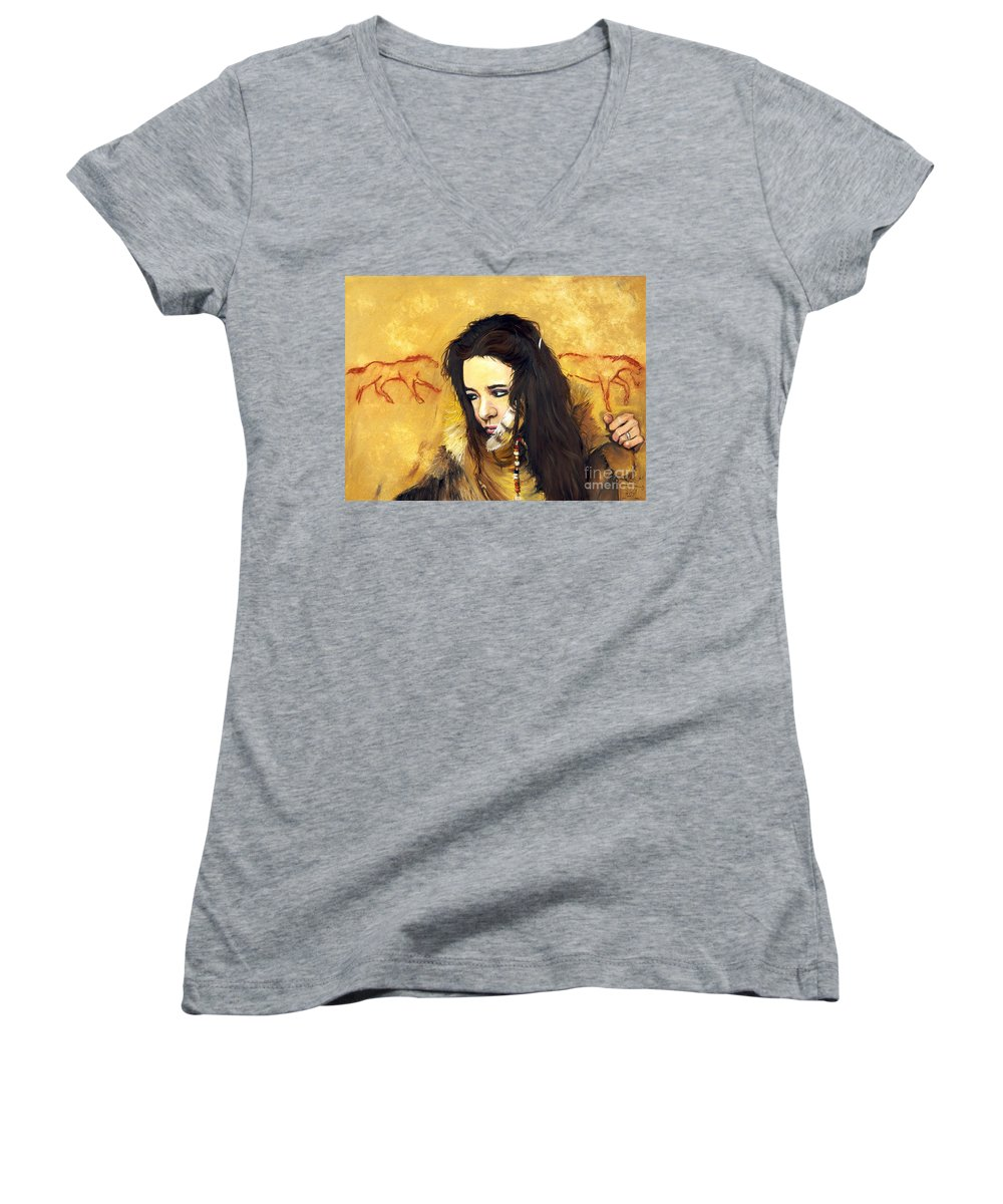 Southwest Art Women's V-Neck (Athletic Fit) featuring the painting Journey by J W Baker