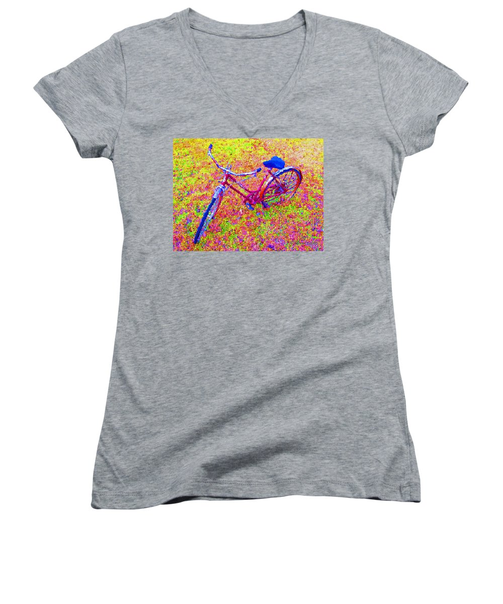 Bike Women's V-Neck (Athletic Fit) featuring the photograph Joy, The Bike Ride by Albert Stewart