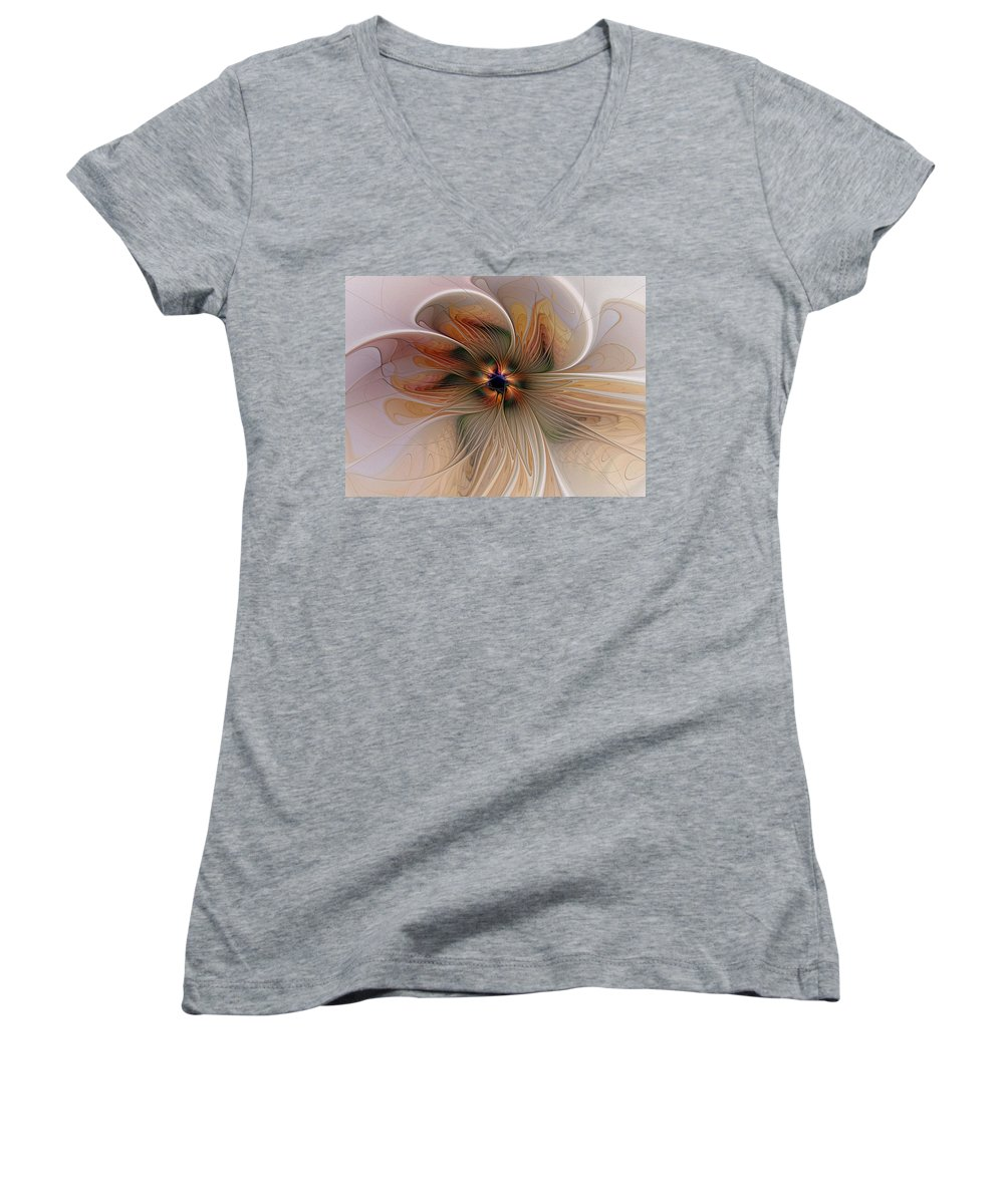 Digital Art Women's V-Neck T-Shirt featuring the digital art Just Peachy by Amanda Moore