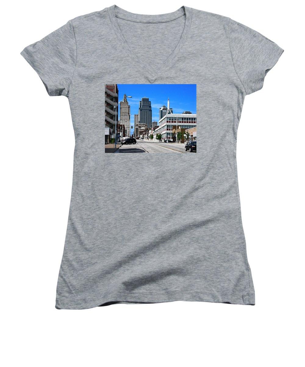City Scape Women's V-Neck T-Shirt featuring the photograph Kansas City Cross Roads by Steve Karol