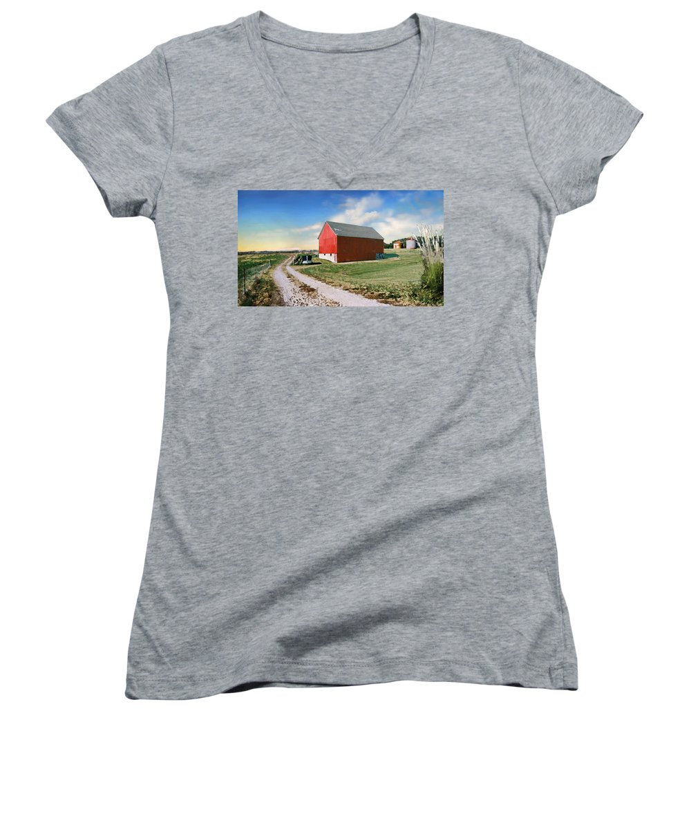 Barn Women's V-Neck T-Shirt featuring the photograph Kansas Landscape II by Steve Karol